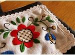 Fartuch i rękawice - czerwony kwiat