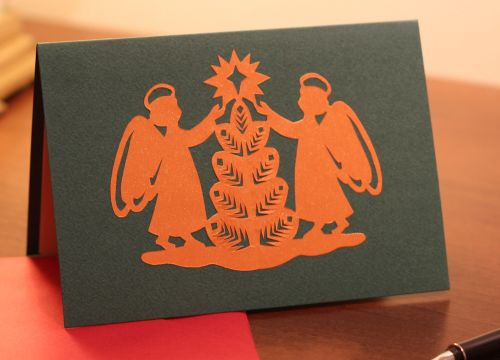 A Belarussian Christmas card 'angles are rejoicing'