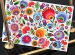 Kartka drukowana łowicka kwiaty