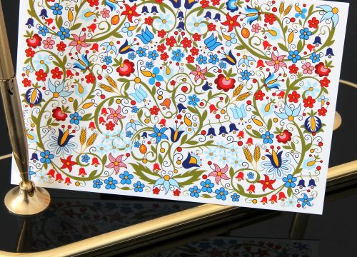 Kartka drukowana kaszubska kwiaty