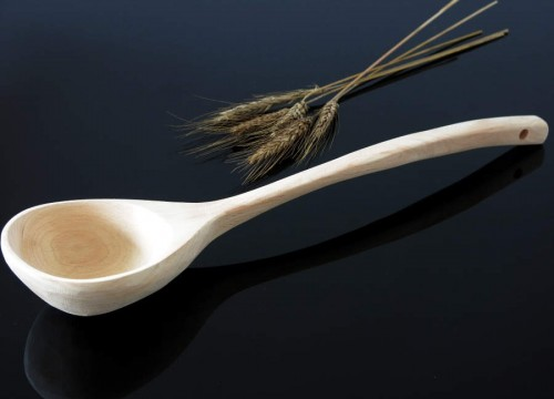 Ladle with slightly curved holder