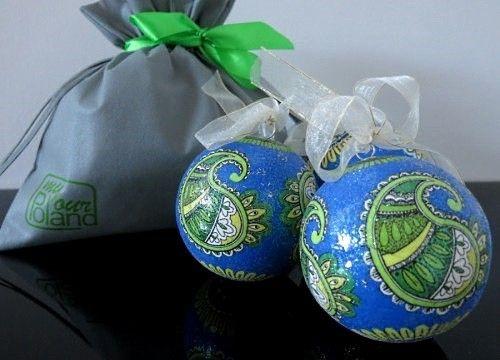 Coffret de boules de Noël saphir opalin