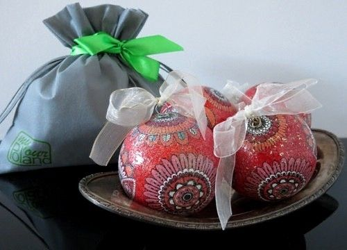 A set of red Christmas balls