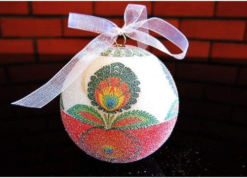 A medium-sized colourful Christmas ball