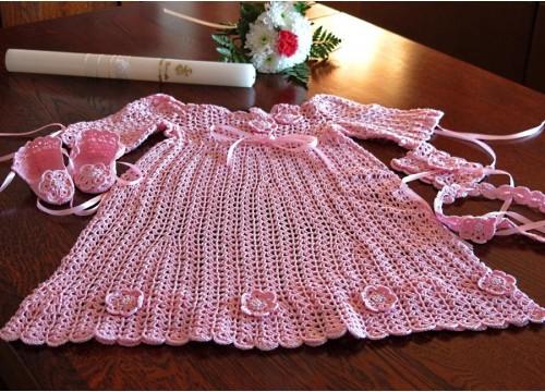Crochet christening dress - pink