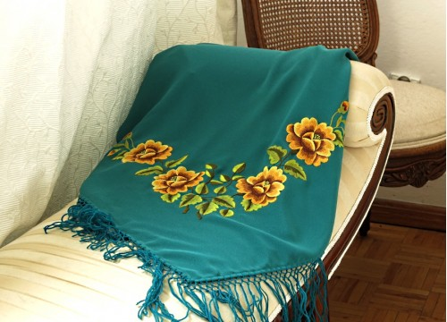 Turquoise scarf with embroidered bunch of roses