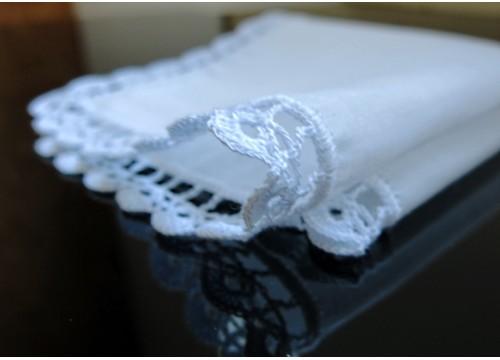 Mouchoir batik blanc (26 x 26 cm)