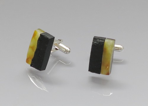 Cufflinks - Baltic amber and hard coal