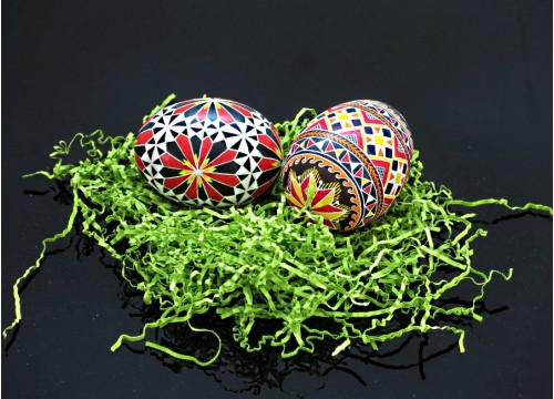 Set d'œufs de Pâques (sur coquille d'œuf d'oie)