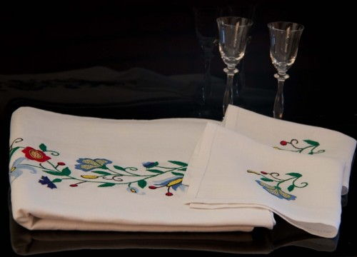 Table-linen with blue flower