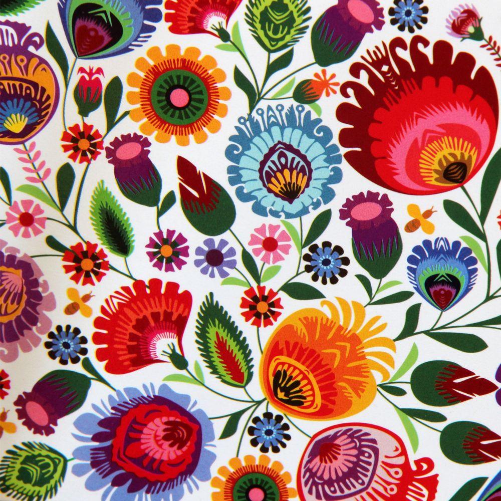 Kartka drukowana: kwiaty i biały